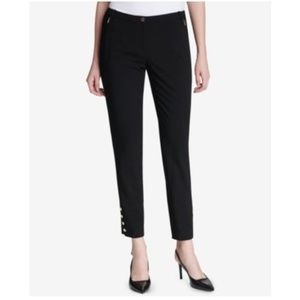 Calvin Klein Button-Hem Ankle Pants Black 4P